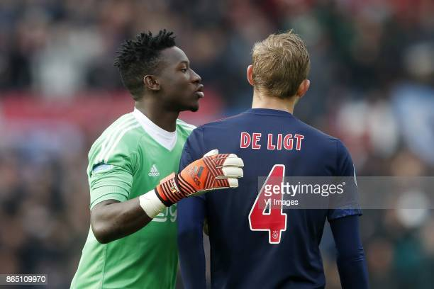 goalkeeper Andre Onana of Ajax Matthijs de Ligt of Ajax during the Dutch Eredivisie match between Feyenoord Rotterdam and Ajax Amsterdam at the Kuip...