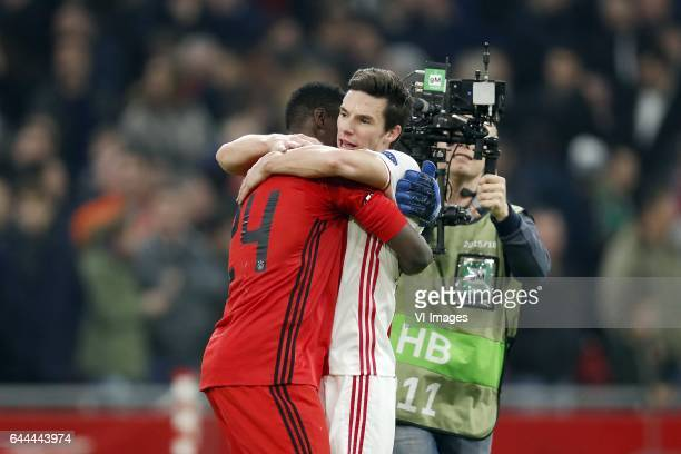 goalkeeper Andre Onana of Ajax Nick Viergever of Ajaxduring the UEFA Europa League round of 16 match between Ajax Amsterdam and Legia Warsaw at the...