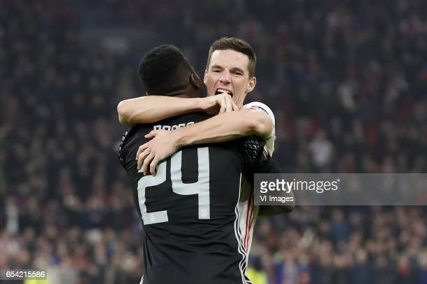 goalkeeper Andre Onana of Ajax Nick Viergever of Ajaxduring the UEFA Europa League round of 32 match between Ajax Amsterdam and FC Copenhagen at the...