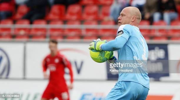 Goalkeeper Andre Poggenborg of Koeln during the Third League match between FSV Zwickau and Fortuna Koeln on April 23 2017 at Stadion Zwickau in...