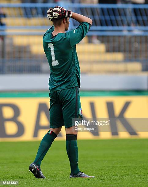 Goalkeeper Andrea Seculin of Italy reacts during the U20 international friendly match between Germany and Italy at the Gellertstrasse stadium on...