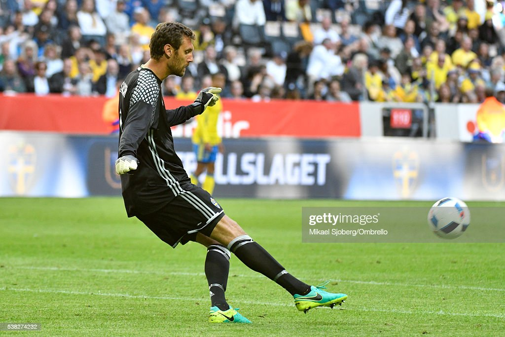 Goalkeeper <a gi-track='captionPersonalityLinkClicked' href=/galleries/search?phrase=Andreas+Isaksson&family=editorial&specificpeople=542896 ng-click='$event.stopPropagation()'>Andreas Isaksson</a> of Sweden during the international friendly between Sweden and Wales at Friends Arena on June 5, 2016 in Solna, Sweden.