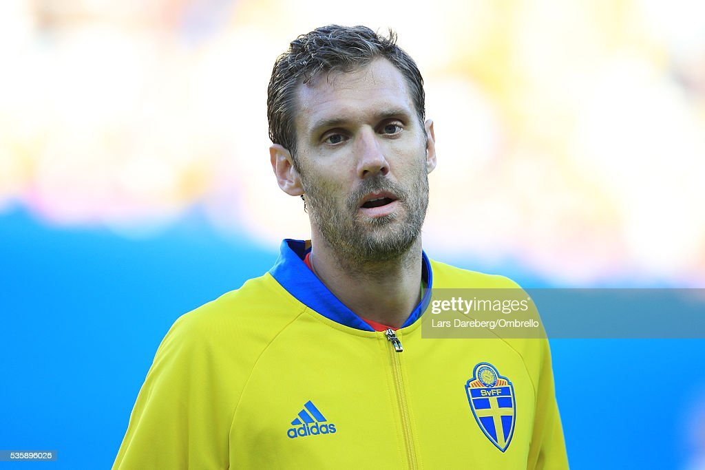 Goalkeeper <a gi-track='captionPersonalityLinkClicked' href=/galleries/search?phrase=Andreas+Isaksson&family=editorial&specificpeople=542896 ng-click='$event.stopPropagation()'>Andreas Isaksson</a> of Sweden during the international friendly match between Sweden and Slovenia on May 30, 2016 in Malmo, Sweden.