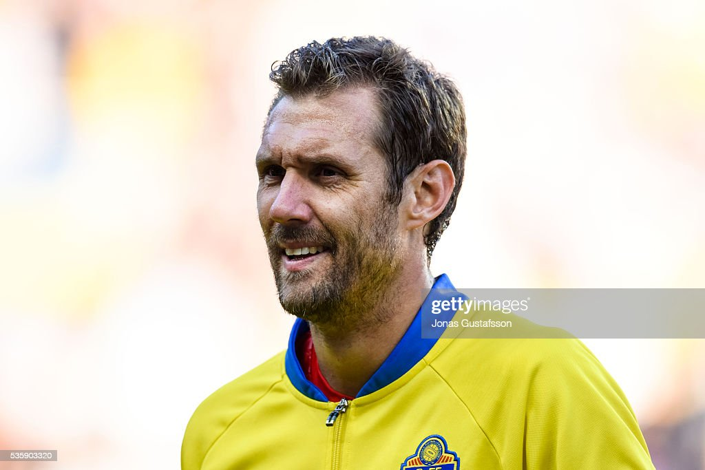 goalkeeper <a gi-track='captionPersonalityLinkClicked' href=/galleries/search?phrase=Andreas+Isaksson&family=editorial&specificpeople=542896 ng-click='$event.stopPropagation()'>Andreas Isaksson</a> of Sweden during the international friendly match between Sweden and Slovenia May 30, 2016 in Malmo, Sweden.