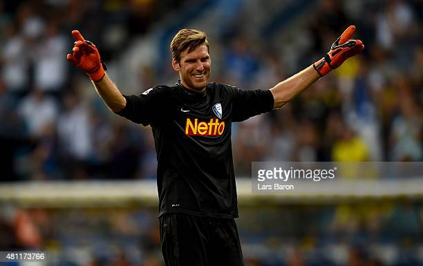 Goalkeeper Andreas Luthe of Dortmund celebrates during a preseason friendly match between VfL Bochum and Borussia Dortmund at Rewirpower Stadium on...