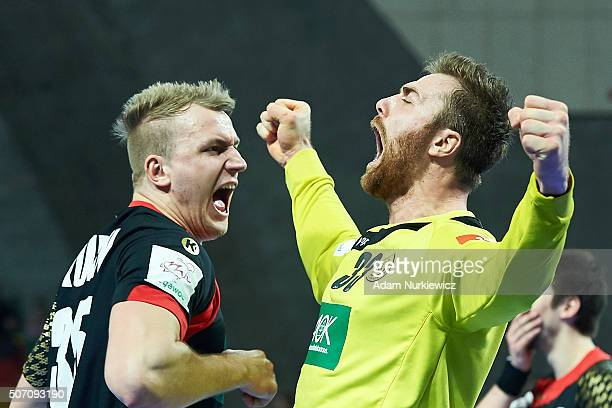 Goalkeeper Andreas Wolff from Germany celebrates after victory during the Men's EHF Handball European Championship 2016 match between Germany and...