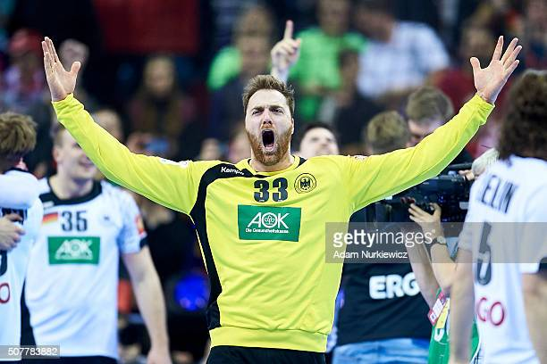 Goalkeeper Andreas Wolff from Germany celebrates after victory during the Men's EHF Handball European Championship 2016 Final match between Germany...