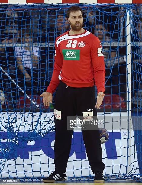 Goalkeeper Andreas Wolff of Germany reacts during the 25th IHF Men's World Championship 2017 match between Germany and Saudi Arabia at Kindarena on...