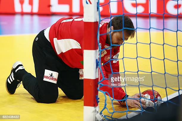 Goalkeeper Andreas Wolff of Germany reacts during the 25th IHF Men's World Championship 2017 Round of 16 match between Germany and Qatar at...