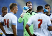 Goalkeeper Andrew Lonergan of Bolton Wanderers FC has a break for water during the PreSeason Friendly match between Brondby IF and Bolton Wanderers...