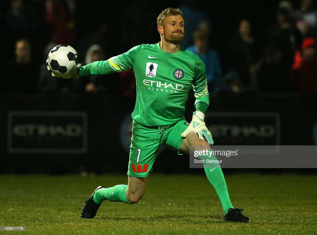 Goalkeeper Andrew Redmayne of City throws the ball during the FFA Cup match between Melbourne City and Sydney FC at Morshead Park Stadium on August 12, 2014 in Ballarat, Australia.