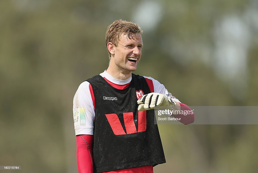 Goalkeeper Andrew Redmayne of the Heart laughs during a Melbourne Heart A-League training session at La Trobe University Sports Fields on February 21, 2013 in Melbourne, Australia.