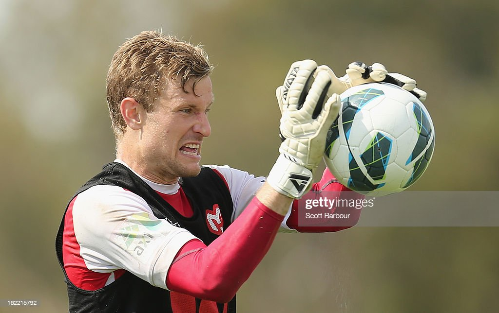 Goalkeeper Andrew Redmayne of the Heart makes a save during a Melbourne Heart A-League training session at La Trobe University Sports Fields on February 21, 2013 in Melbourne, Australia.
