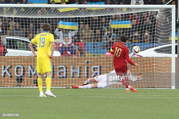 Goalkeeper Andriy Pyatov of Ukraine saves the gate after Cesc F��bregas of Spain despatches the spotkick during the European Qualifiers 2016 match...