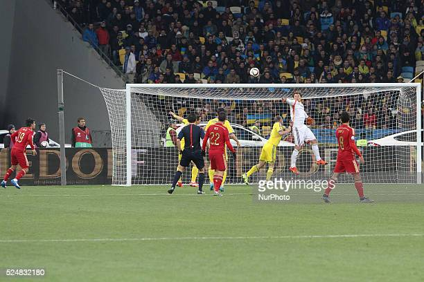 Goalkeeper Andriy Pyatov of Ukraine saves the gate during the European Qualifiers 2016 match between Ukraine and Spain national teams at NSK...