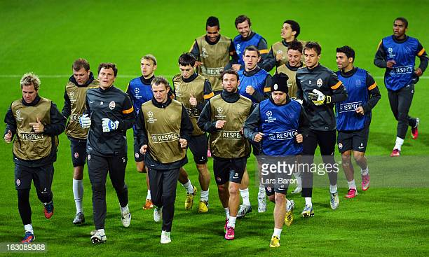 Goalkeeper Andriy Pyatov warms up with team mates during a FC Shakhtar Donetsk training session ahead of their UEFA Champions League round of 16...