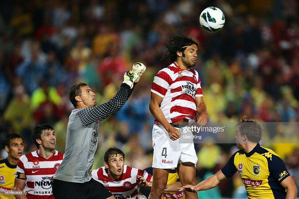 Goalkeeper Ante Covic (L) and Nikolai Topor-Stanley (R) of the Wanderers defend during the round 23 A-League match between the Central Coast Mariners and the Western Sydney Wanderers at Bluetongue Stadium on March 2, 2013 in Gosford, Australia.