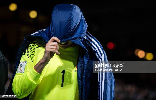 Goalkeeper Anthony Moris of Luxembourg leaves the pitch after an injury during the FIFA 2018 World Cup Qualifier between Luxembourg and France at...