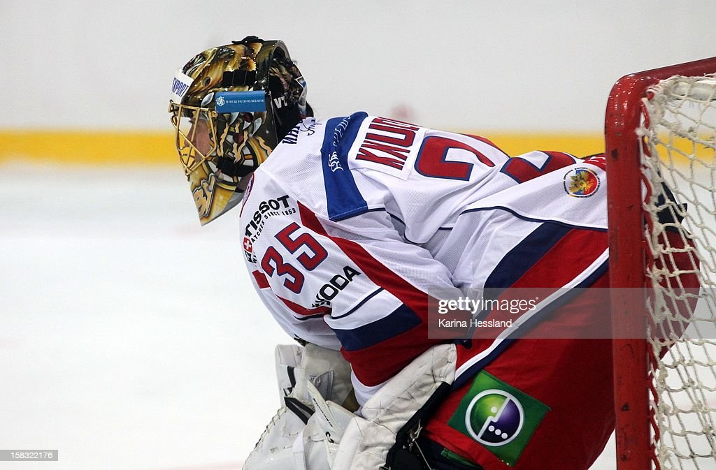 Goalkeeper Anton Khudobin of Russia during the Top Teams Sotchi match between Germany and Russia at Kuechwaldhalle on December 11, 2012 in Chemnitz, Germany.