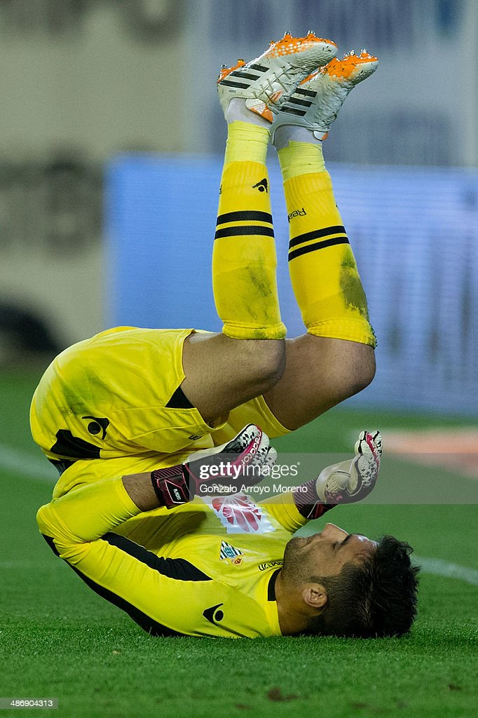 goalkeeper Antonio Adan of Real Betis Balompie lies on the ground during the La Liga match between Real Betis Balompie and Real Sociedad de Futbol at Estadio Benito Villamarin on April 26, 2014 in Seville, Spain.