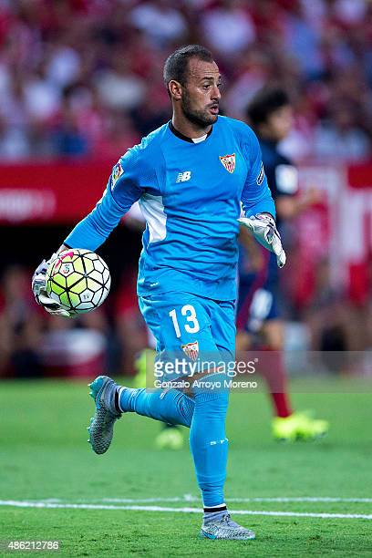 Goalkeeper Antonio Alberto Bastos alias Beto of Sevilla FC holds the ball during the La Liga match between Sevilla FC and Club Atletico de Madrid at...