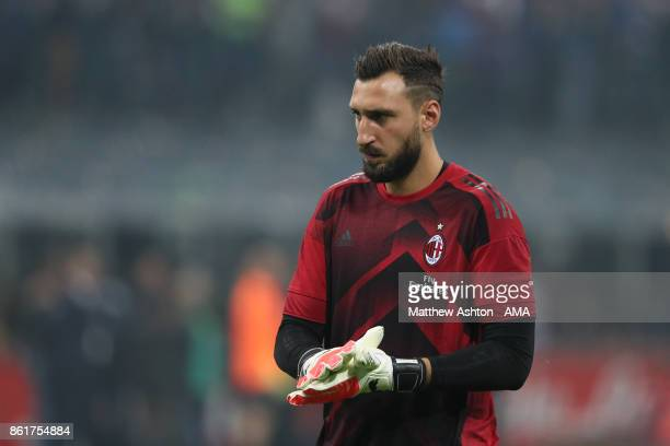 Goalkeeper Antonio Donnarumma of AC Milan prior to the Serie A match between FC Internazionale and AC Milan at Stadio Giuseppe Meazza on October 15...
