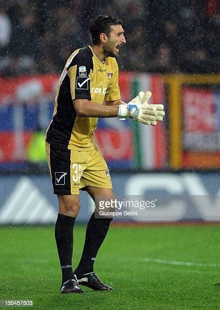 Goalkeeper Antonio Donnarumma of Gubbio reacts during the Serie B match between AS Gubbio and Calcio Padova at Stadio Pietro Barbetti on December 10...