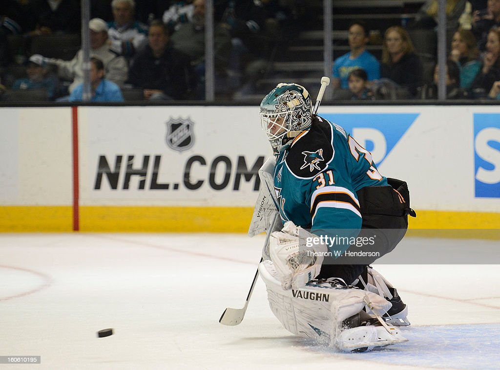 Goalkeeper Antti Niemi #31 of the San Jose Sharks defends his goal against the Nashville Predators at HP Pavilion on February 2, 2013 in San Jose, California.