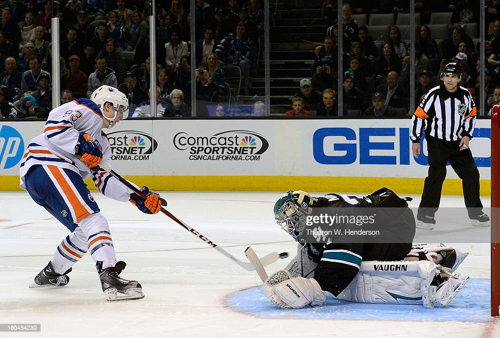 Goalkeeper Antti Niemi #31 of the San Jose Sharks in a shoot-out blocks the shot of Ryan Nugent-Hopkins #93 of the Edmonton Oilers at HP Pavilion on January 31, 2013 in San Jose, California. The Sharks won the game 3-2 in the overtime shoot-out.