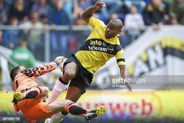 goalkeeper Arjan van Dijk of RKC Waalwijk Rydell Poepon of NAC Breda during the Dutch Eredivisie match between NAC Breda and RKC Waalwijk at Rat...