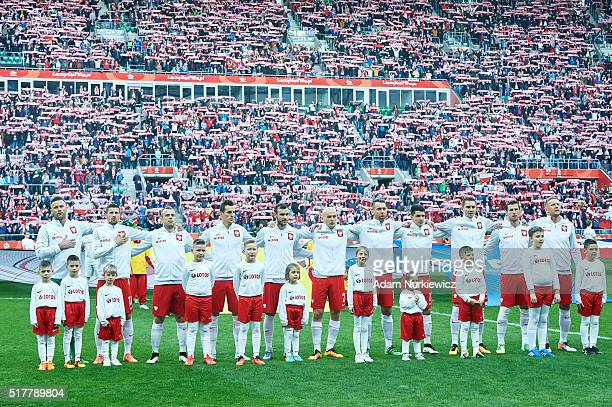 Goalkeeper Artur Boruc and Pawel Wszolek and Kamil Grosicki and Arkadiusz Milik and Filip Starzynski and Michal Pazdan and Jakub Wawrzyniak and...