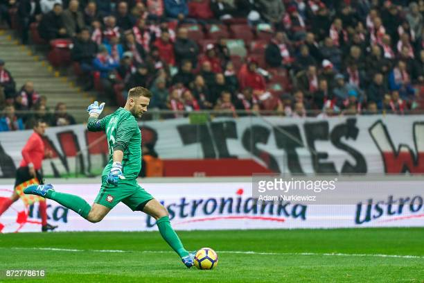 Goalkeeper Artur Boruc from Poland kicks the ball while his last game for national team Poland v Uruguay International Friendly soccer match at...