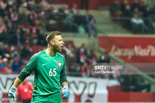 Goalkeeper Artur Boruc from Poland shouts while his last game for national team Poland v Uruguay International Friendly soccer match at National...