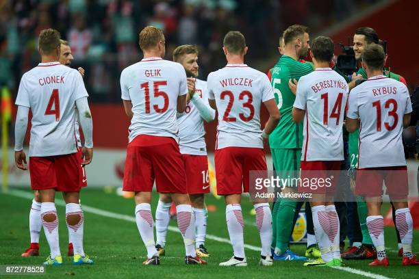 Goalkeeper Artur Boruc from Poland thanks to the teammates while his last game for national team Poland v Uruguay International Friendly soccer match...
