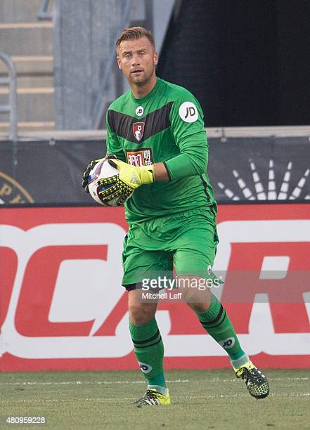 Goalkeeper Artur Boruc of AFC Bournemouth plays in the friendly match against the Philadelphia Union on July 14 2015 at the PPL Park in Chester...