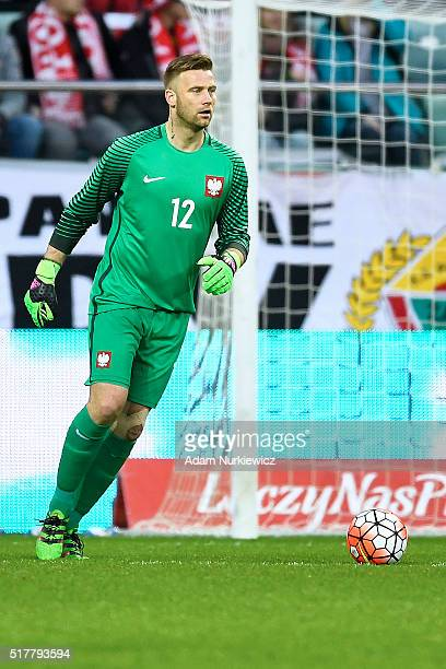 Goalkeeper Artur Boruc of Poland controls the ball during the international friendly soccer match between Poland and Finland at the Municipal Stadium...