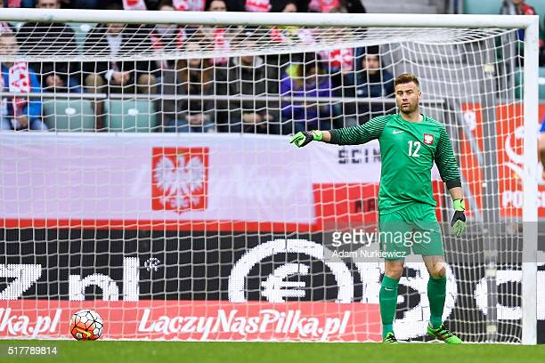 Goalkeeper Artur Boruc of Poland gestures during the international friendly soccer match between Poland and Finland at the Municipal Stadium on March...