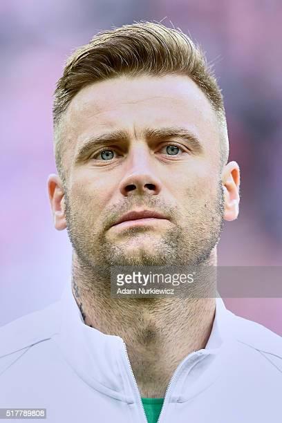 Goalkeeper Artur Boruc of Poland listens national anthem during the international friendly soccer match between Poland and Finland at the Municipal...