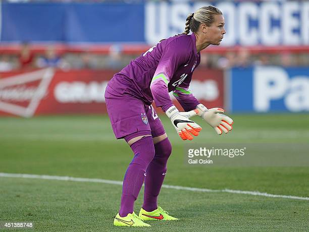 Goalkeeper Ashlyn Harris of the United States holds her stance during a women's international friendly match between France and the United States...