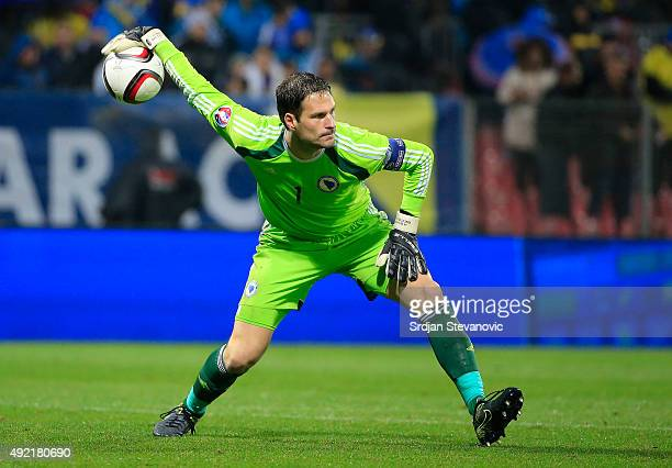 goalkeeper Asmir Begovic of Bosnia in action during the Euro 2016 qualifying football match between Bosnia and Herzegovina and Wales at the Stadium...