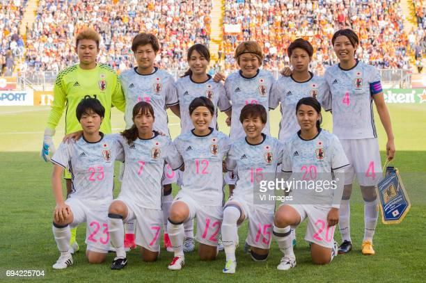 goalkeeper Ayake Yamashita of Japan Aya Sameshima of Japan Yuika Sugasawa of Japan Mizuho Sakaguchi of Japan Tanaka Mina of Japan Saki Kumagai of...