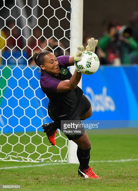 Goalkeeper Barbara of Brazil defends the net against Australia in Penalties Shootout during the Women's Football Quarterfinal match at Mineirao...