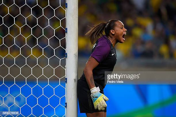 Goalkeeper Barbara of Brazil reacts in the first half against Australia during the Women's Football Quarterfinal match at Mineirao Stadium on Day 7...
