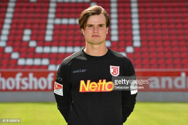 Goalkeeper Bastian Lerch of Jahn Regensburg poses during the team presentation at Continental Arena on July 18 2017 in Regensburg Germany