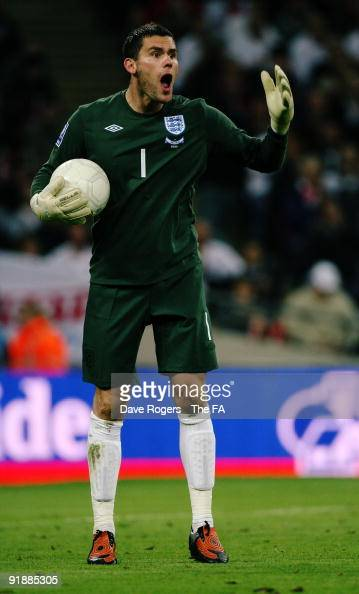 Goalkeeper Ben Foster of England shouts during the FIFA 2010 World Cup Group 6 Qualifying match between England and Belarus at Wembley Stadium on...