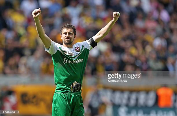 Goalkeeper Benjamin Kirsten of Dresden thanks his supporters after his last third league match between SG Dynamo Dresden and FC Hansa Rostock at...