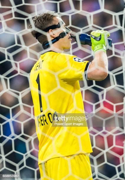 Goalkeeper Bernd Leno of Bayer 04 Leverkusen drinks water during their 201617 UEFA Champions League Round of 16 second leg match between Atletico de...