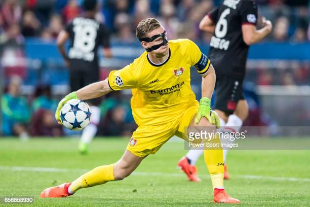 Goalkeeper Bernd Leno of Bayer 04 Leverkusen in action during their 201617 UEFA Champions League Round of 16 second leg match between Atletico de...