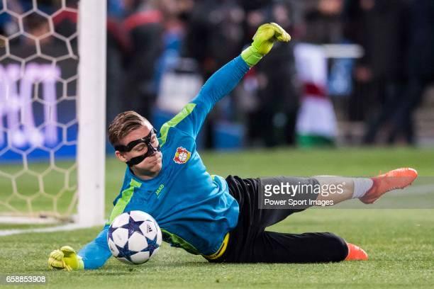 Goalkeeper Bernd Leno of Bayer 04 Leverkusen in training prior to the 201617 UEFA Champions League Round of 16 second leg match between Atletico de...
