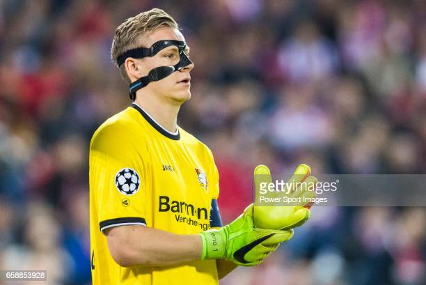 Goalkeeper Bernd Leno of Bayer 04 Leverkusen looks on during their 201617 UEFA Champions League Round of 16 second leg match between Atletico de...